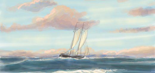 Schoner vor Skagen von Johannes Caspersen