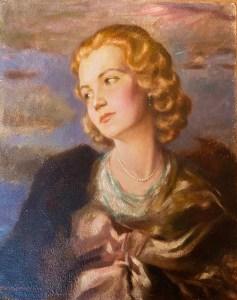 Junge Frau, Gouache auf Hartfaser, 50x40cm, links unten Signiert