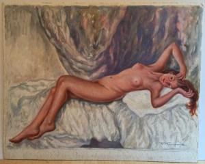 Franz Kienmayer, Liegender Akt, Aquarell, 36 x 50 cm