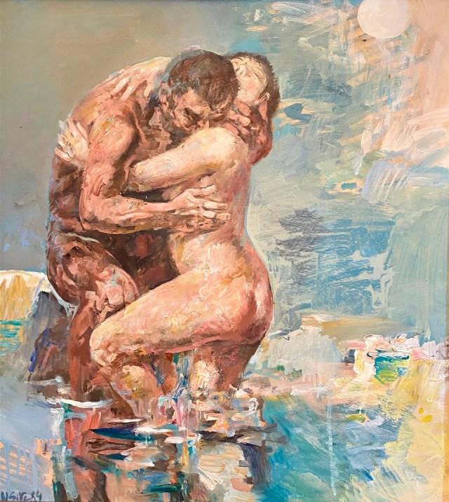 Willi Sitte, AKT, Öl/ Spezialpapier, 62 x 55 cm, signiert und datiert 1984