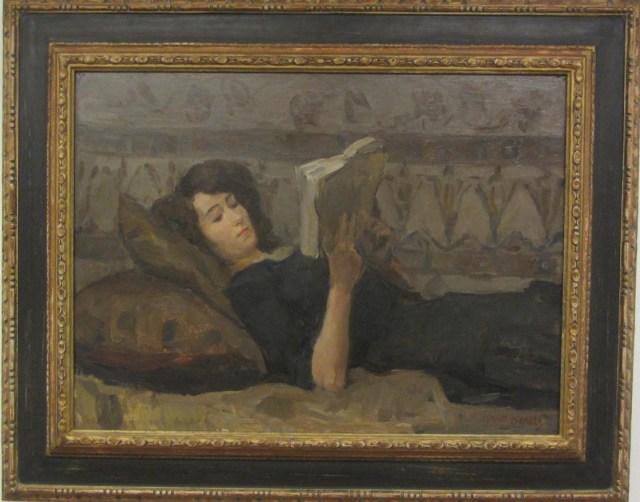 lezend meisje op sofa isaac israels