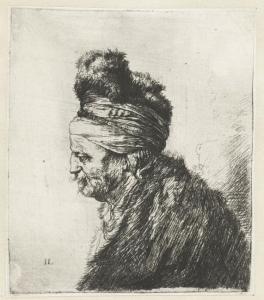 Borststuk van een Oosterse man en profil -Jan Lievens