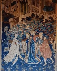Een tapijt metverlovingsscène van Musée des Arts Décoratif