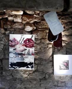 Kalbskopf mit Parma vor Wand