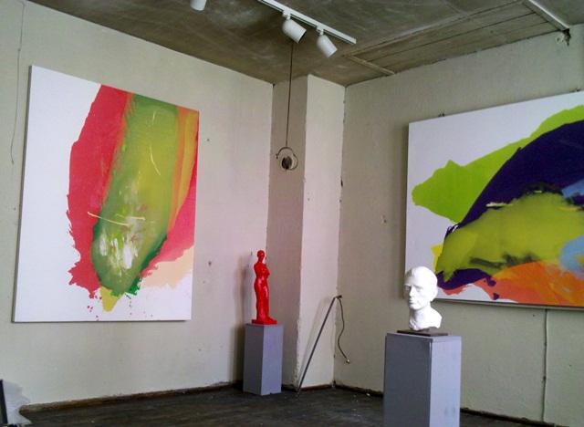 linkes Bild, Flug von Manfred Binzer, 155x195 cm, Öl auf Leinwand
