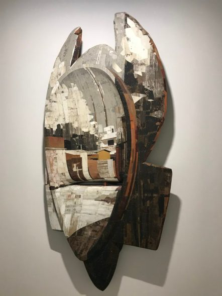 Ron van der Ende, Mediator, 2019 Bas-relief in salvaged wood 212 x 99 cm