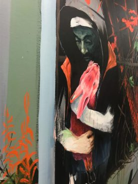 Sjaak Kooij, detail the Retainer, oil, acrylics, spray paint on canvas 196 x 199 cm.