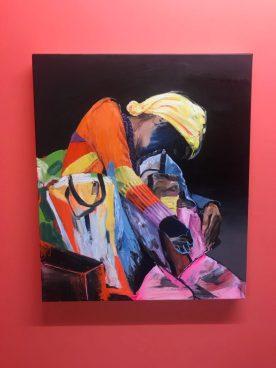 Sjaak Kooij, Sleeper, oil, acrylics, spray paint on linen 70 x 60 cm.