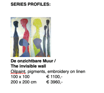 Hester Van Dapperen, De onzichtbare muur, . Acryl en olie op linnen met borduur van gekleurd raffia