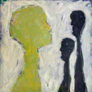 Hester Van Dapperen, De onzichtbare grens, geel / zwart. Acryl en olie op linnen met borduur van gekleurd raffia