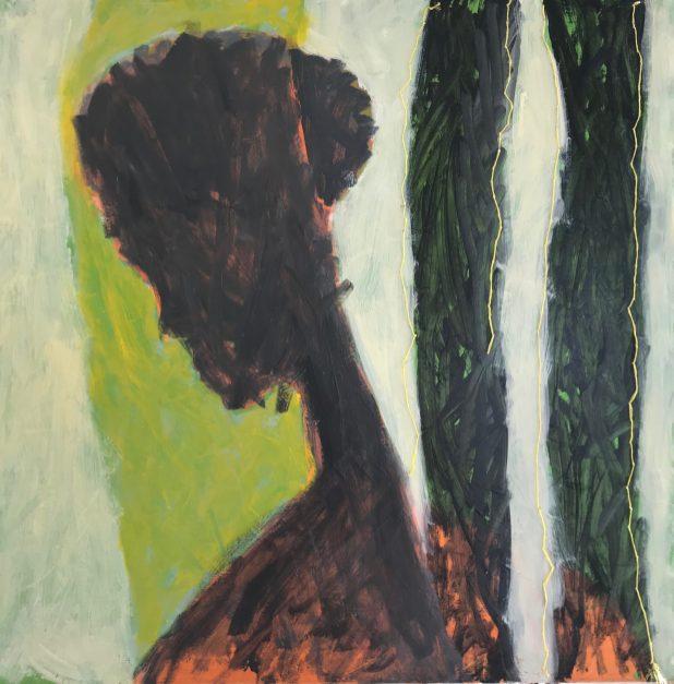 Hester Van Dapperen, De onzichtbare grens, geel. Acryl en olie op linnen met borduur van gekleurd raffia