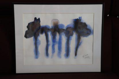 Otros. Cobaltblauw aquarel en rode bordeaux (oude wijn). Antoon Loomans