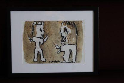 Houtskool en aquarel Antoon Loomans