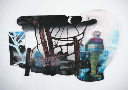 Edith Meijering, Clown has left the building, Collage, 80 x 110 cm.