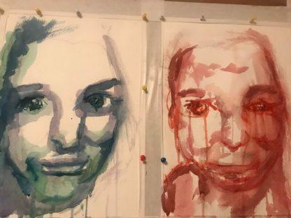 Eerste probeersel zelfportret met aquarel.