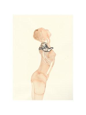 Strek, aquarel, 31x29 cm. Caren van Herwaarden