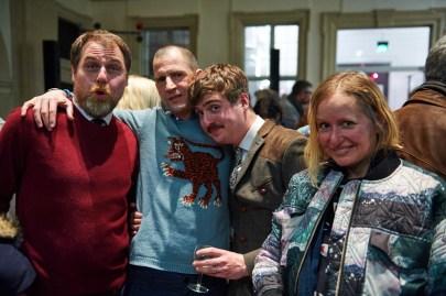 Heiko Zwirner, Adriano Sack (beide WELT am Sonntag), Frédéric Schwilden (Focus) mit Designerin Annette Apel, Foto: Markus Faber