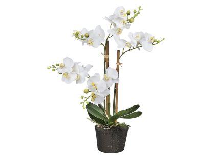HTT Decorations - Kunstplant Orchidee / Phalaenopsis mini 3-tak wit H38cm - kunstplantshop.nl