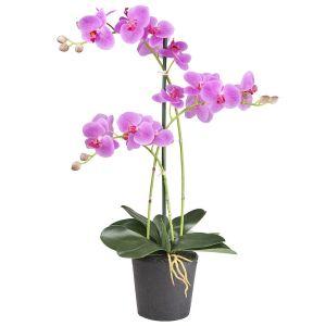 HTT Decorations - Kunstplant Orchidee / Phalaenopsis 3-tak roze H63cm - kunstplantshop.nl