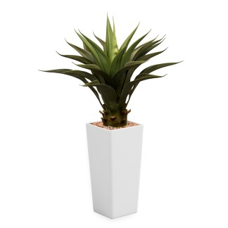 HTT - Kunstplant Agave vetplant in Clou vierkant wit H105 cm - kunstplantshop.nl