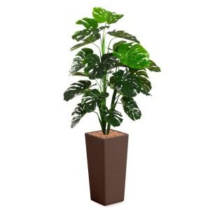 HTT - Kunstplant Monstera in Clou vierkant bruin H185 cm - kunstplantshop.nl