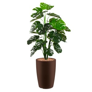 HTT - Kunstplant Monstera in Genesis rond bruin H150 cm - kunstplantshop.nl