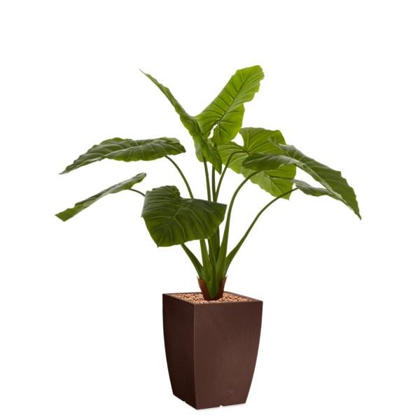 HTT - Kunstplant Philodendron in Genesis vierkant bruin H140 cm - kunstplantshop.nl