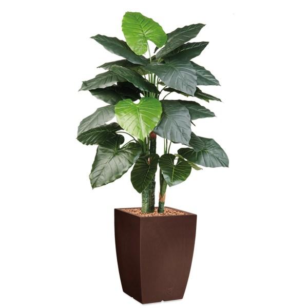 HTT - Kunstplant Philodendron in Genesis vierkant bruin H150 cm - kunstplantshop.nl