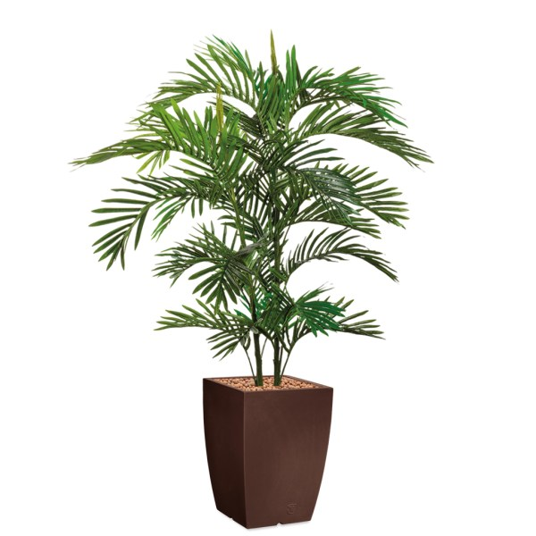HTT - Kunstplant Areca palm in Genesis vierkant bruin H150 cm - kunstplantshop.nl