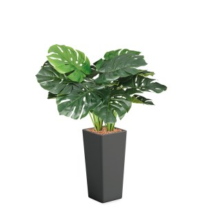 HTT - Kunstplant Monstera in Clou vierkant antraciet H105 cm - kunstplantshop.nl
