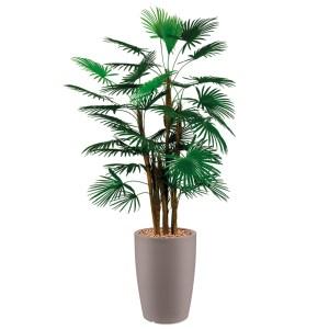 HTT - Kunstplant Rhapis palm in Genesis rond taupe H150 cm - kunstplantshop.nl