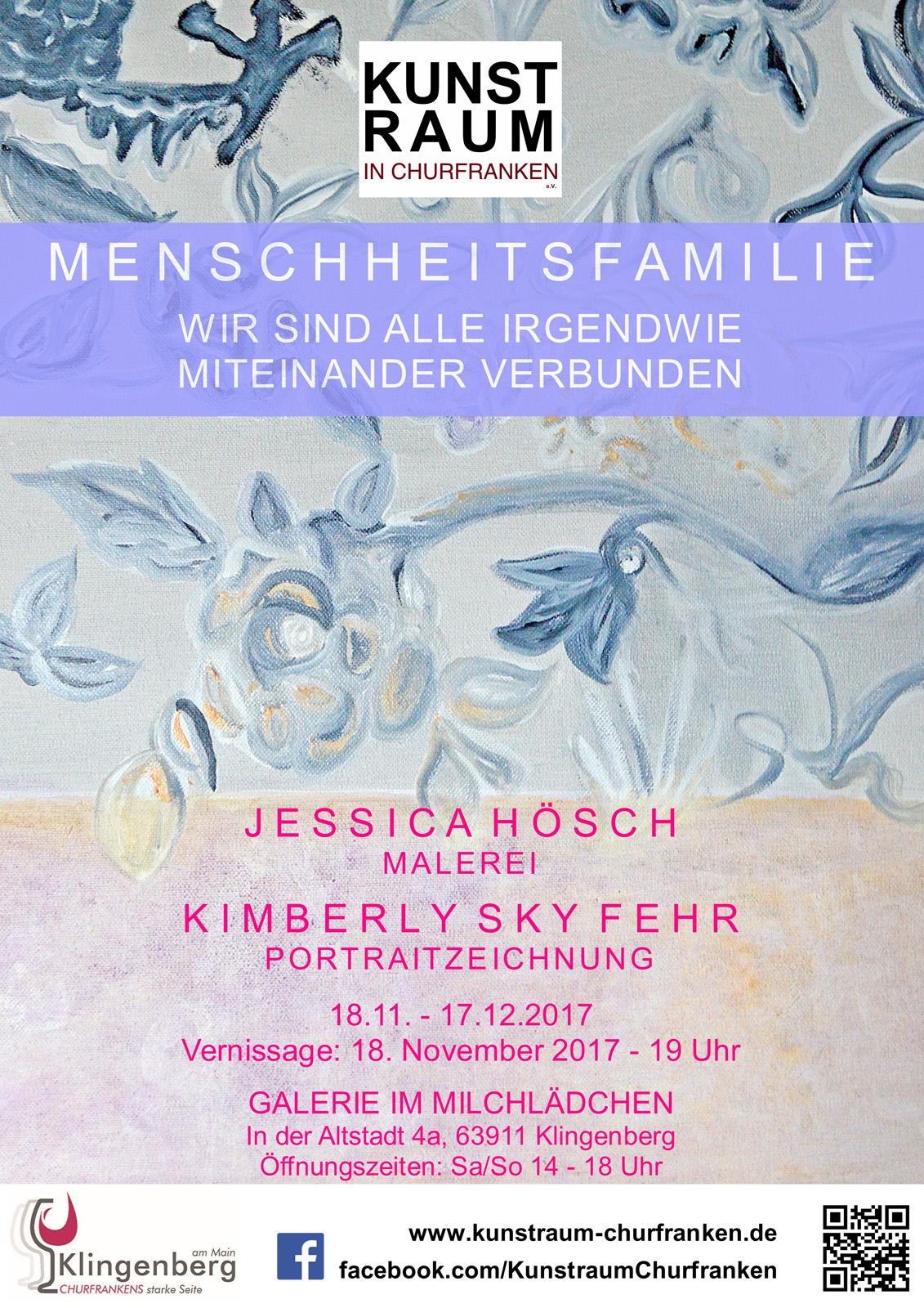 Ausstellung JESSICA HÖSCH + KIMBERLY SKY FEHR, 18.11.-17.12.2017, Galerie im Milchlädchen
