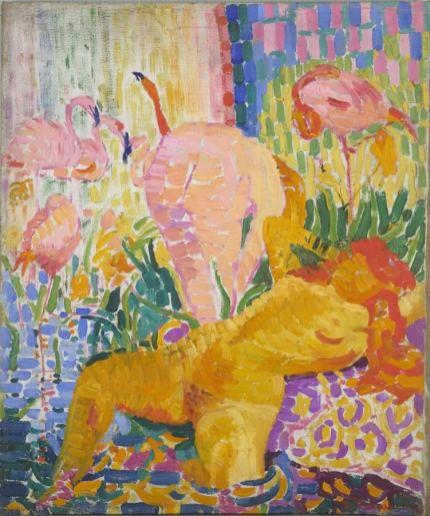 robert-delaunay-akte-und-flamingos-1907