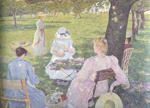 Théo van Rysselberghe - Im Juli, Familie im Obstgarten, 1890, Öl auf Leinwand, © Otterlo, Kröller-Müller Museum