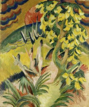 Ernst Ludwig Kirchner Runde Bucht (Goldregenbaum), um 1914 Öl auf Leinwand, 146 × 123 cm Museo Thyssen-Bornemisza, Madrid