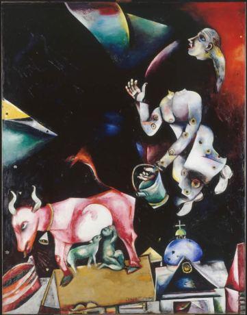 Marc Chagall - Russland, den Eseln und anderen (A la Russie, aux ânes et aux autres), 1911(-1912) Öl auf Leinwand, 157 x 122 cm © Musée national d'art moderne, Centre Georges Pompidou, Paris / ProLitteris, Zürich