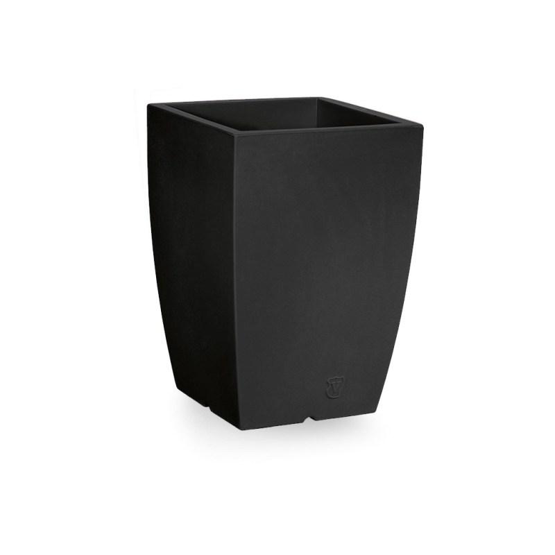 VECA - Bloempot Genesis, vierkant, H50 cm, antraciet - kunststofbloempot.nl