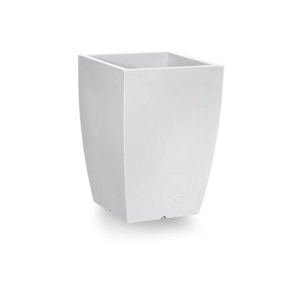 VECA - Bloempot Genesis, vierkant, H50 cm, wit - kunststofbloempot.nl