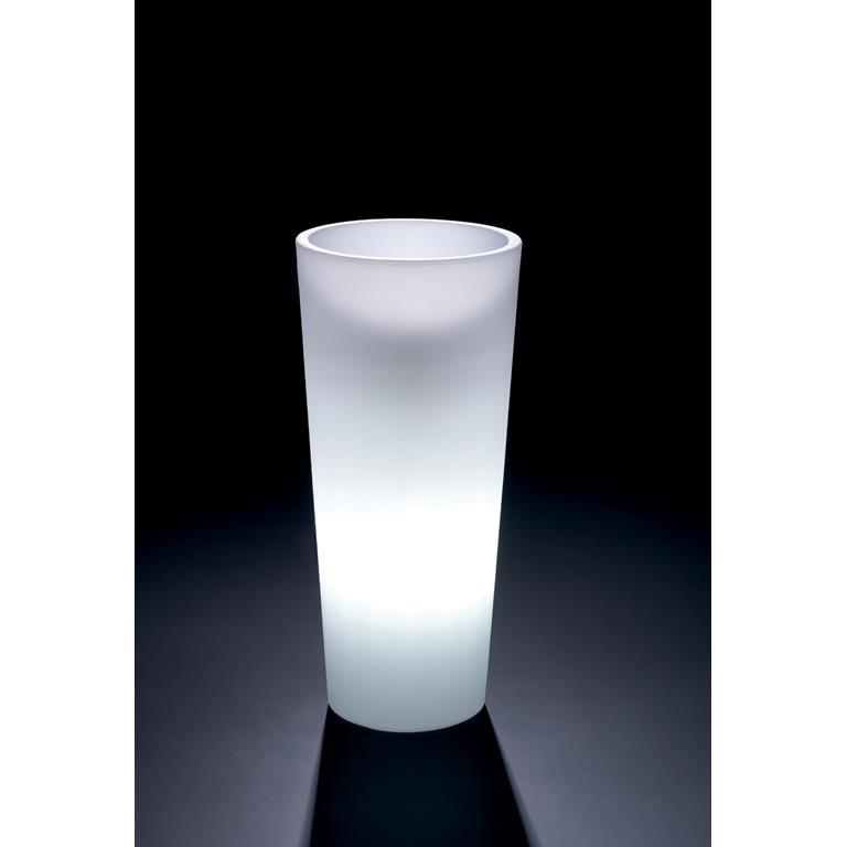 VECA - verlichte bloempot Genesis, rond, H130 cm - kunststofbloempot.nl