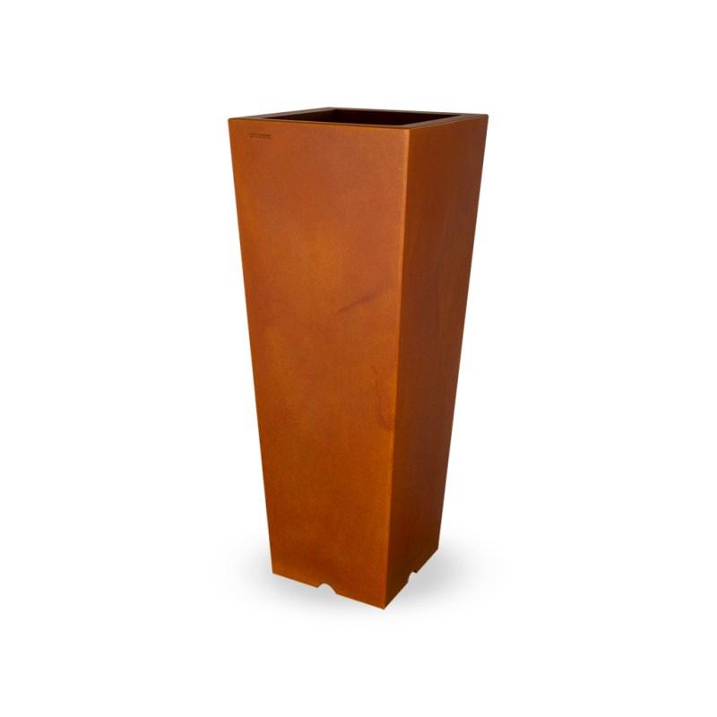 PLASTECNIC - Bloempot Qun Vaso Quadro Alto, H100 cm, roest - kunststofbloempot.nl