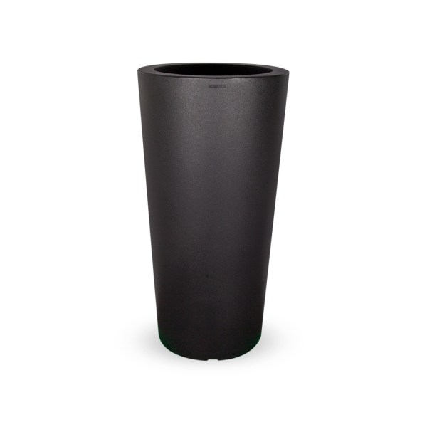 PLASTECNIC - Bloempot Tan Vaso Tondo Alto, rond, H96 cm, zwart - kunststofbloempot.nl