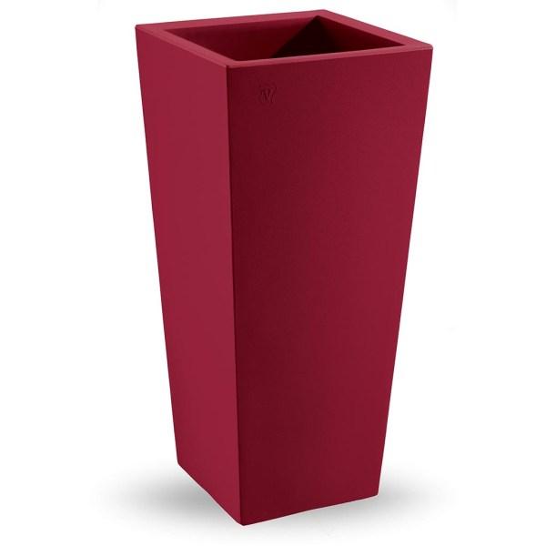 VECA - Bloempot Genesis, vierkant, H85 cm, rood - kunststofbloempot.nl
