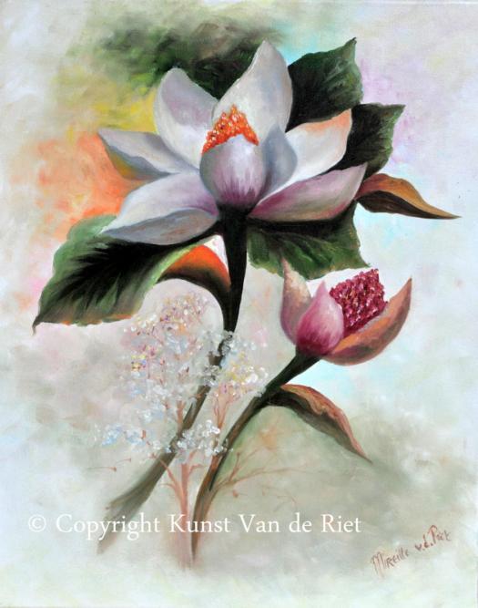 Magnolia volgens de olieverf schildertechniek van Gary Jenkins