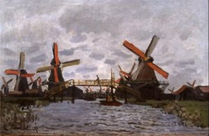 Claude Monet - Molens in het Westzijderveld bij Zaandam