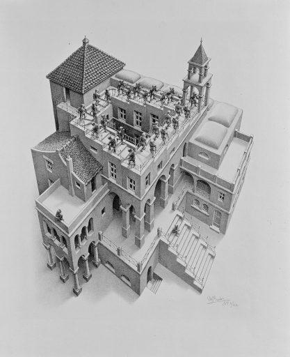 Klimmen en dalen (1960), M.C. Escher © the M.C. Escher Company B.V. All rights reserved. www.mcescher.com