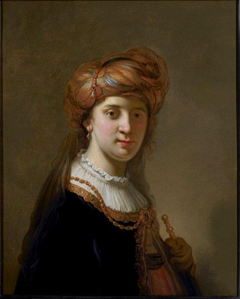 Govert Flinck - Portret van een vrouw met tulband
