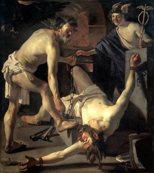 Dirck van Baburen - Prometheus wordt vastgebonden door Vulcanus