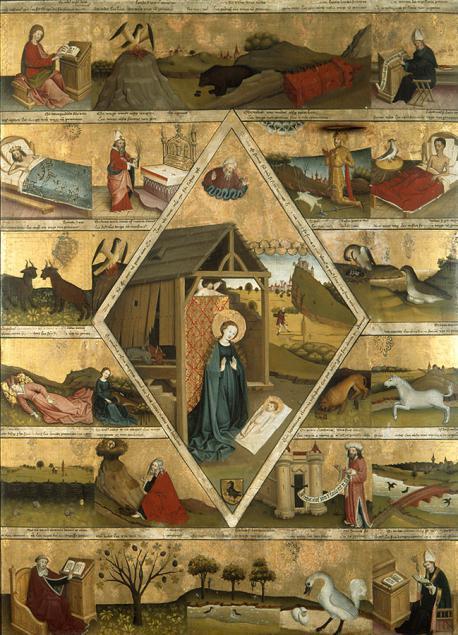 Meister der Ottobeurer Marientafel, um 1450: Einzelszenen aus der Verteidigung der Lehre von der unberührten Jungfräulichkeit der Gottesmutter