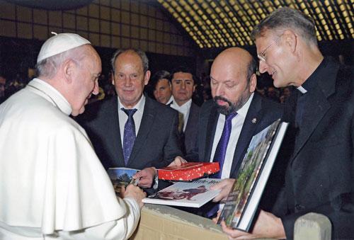 Papst Franziskus, Josef Fink, Hermann Josef Beyeler, Hans-Peter Fischer (Foto: Osservatore Romano)