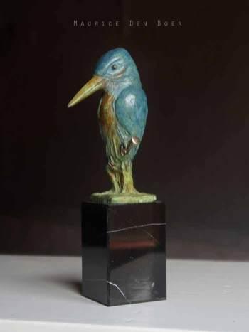 Bronzen beeldje van een ijsvogel